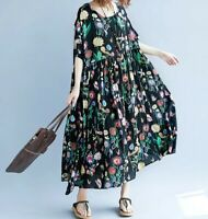 Black Floaty  Oversized Floral cotton Arty  boho Summer Loose Hippy dress 16