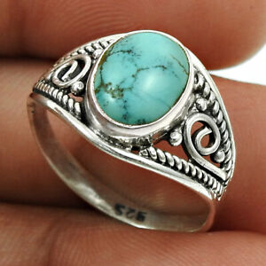 Oval Shape Turquoise Gemstone Jewelry 925 Fine Sterling Silver Ring Size P S6