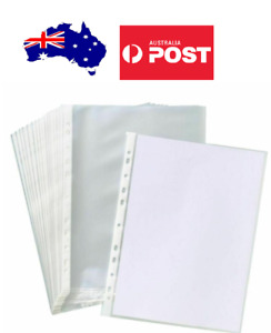 100 x A4 Clear Plastic Sheet Protector Sleeves ACID Free Suit 2 3 4 Ring Binders