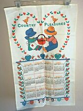 Vintage 1989 Linen Cloth Fabric Country Pleasures Towel Hanging Wall Calendar