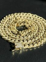 """Mens Miami Cuban Link 12mm Chain 14k Gold & Solid 925 Silver Bust Down 18-30"""""""