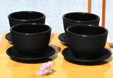 Cast iron black hobnail tea cup and round coaster X 4