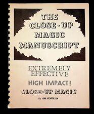 Close Up Magic Manuscript John Henderson Magic Book Magician 1982 Signed