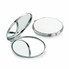 SMALL COMPACT 6cm SHINEY SILVER COLOUR METAL DOUBLE SIDED MIRROR HANDBAG MAKEUP