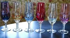 Vintage IRIDESCENT ETCHED 6 Wine Glasses SET Hand Blown Multi Colored Clear Stem
