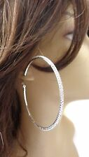 LARGE 3 INCH HOOP EARRINGS CRYSTAL HOOPS RHINESTONE SILVER RHODIUM THIN HOOPS