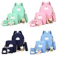 6pcs/Set Women Backpack Canvas Travel Teenage Bookbag Girls Shoulder School Bag