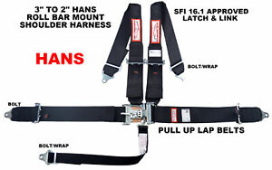 BLACK SFI 16.1 HANS RACING HARNESS 5 POINT BLACK SFI 16.1 PULL UP LAP BELTS