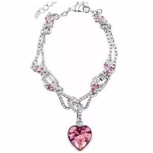 Made Using Swarovski Crystals The Jenara Pink Big Heart Bracelet $138 S22