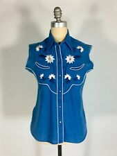 Vintage 1960's bold blue WESTERN snap down shirt w/cut sleeves by Tem Tex size M