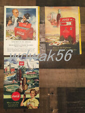 1950 Nearly Complete Set 3 of 4 NATIONAL GEOGRAPHIC MAGAZINE COCA-COLA COKE ADS