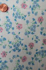 ONE VINTAGE FEEDSACK PETITE Pink & Blue  FLOWERS  38x44  sm hole/ PRISTINE!