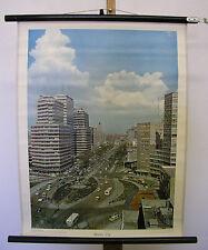 schöne alte Schulwandkarte Wandbild Mexiko-Stadt 55x72cm vintage city map ~1958