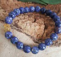 NEW Rafaelian 18 K Gold Faceted Lapis Lazuli Om Gemstone Spiritual Bracelet