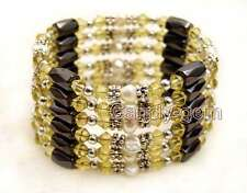 Sale White 4-5mm Natural Pearl and Yellow Crystal & Hematite 36'' Bracelet-br363