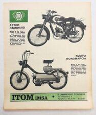 Pubblicità 1967 ITOM IMSA ASTOR TORINO MOTO MOTOR advertising publicitè werbung