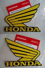 2 x GENUINE Honda Fuel Tank Wing Decal Wings Sticker YELLOW / BLACK 100mm X 80mm