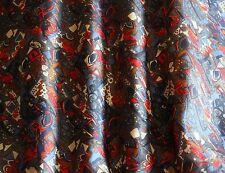 """Red/Gold/Blue Printed Tissue Taffeta 100% Silk Fabric, 44"""" W, By Yard (TS-7369)"""