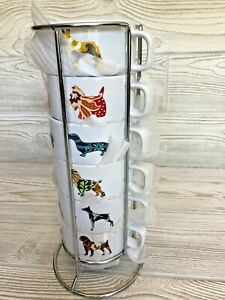 World Market Set of 6 Dog Stacking Espresso Coffee Mugs with Metal Rack NEW