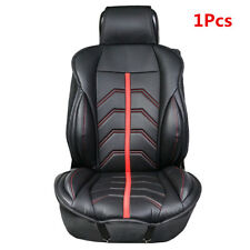 1PC Car Black/Red Leather FRONT Seat Cover Set Cushions Protector Pad UNIVERSAL