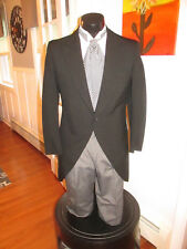 MENS VINTAGE VICTORIAN BLACK CUTAWAY TUXEDO & ASCOT INCLUDED SIZE 36S