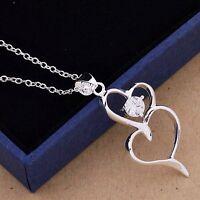 Collier, pendentif chaîne en argent 925/°°°, cristal transparent, coeurs, bijou.