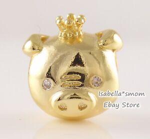 ZODIAC Chinese SHINING Pig Genuine PANDORA SHINE 18K GOLD Plated Charm 768591C01