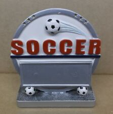 Soccer round full color resin award silver and white