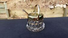 RARE FOSTORIA AMERICAN CRYSTAL HANDLE JAM CONTAINER WITH LID & SPOON ESPN