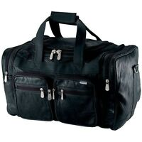 "DUFFEL TOTE BAG 19"" Black Leather Gym Carry On Shoulder Travel Luggage Overnight"