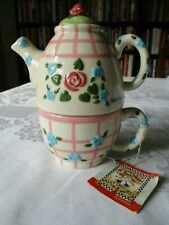 Nwt Vintage Mary Engelbreit 1998 Stacked Tea Pot Ceramic Pink-Green Roses