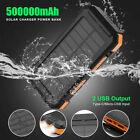 500000mAh Solar Power Bank 2USB External Battery Charger Portable Fast Charging