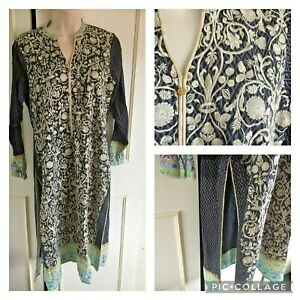 BEAUTIFUL indian cotton embroidered tunic -BLACK & BEIGE - 8/10