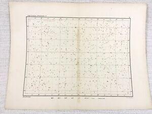 1893 Antique Star Map Chart Virgo Libra Corvus Hydra Constellations Astronomy