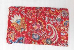 100% Cotton Indian Handmade Twin Size Kantha Quilt Bedspread Blanket Mukut Print