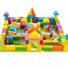 Wooden Assembled Geometric Shape Building Blocks Toys Baby Early Educational 100
