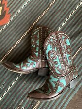 Vintage Old Gringo Vintage Brown & Turquoise Leather Western Cowgirl Boots 8 B