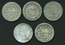 (282)  LOT de 5 MONNAIES ARGENT de 1 LIRE ITALIENNE ( Toutes différentes )