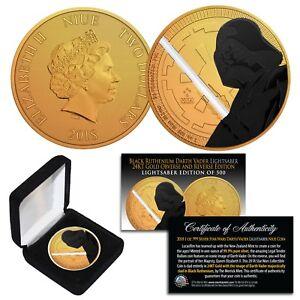 2018 NZM 1 oz Silver STAR WARS Coin 24K Gold Clad BLACK RUTHENIUM DARTH VADER LS