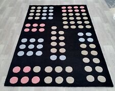 INDIAN HAND TUFTED, MODERN WOOL RUG, 2.44 x 1.52M, BLACK & BEIGE,GREY,PINK,BLUE