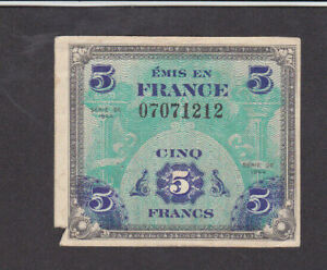5 FRANCS FINE BANKNOTE FROM ALLIED MILITARY IN FRANCE 1944 PICK-115