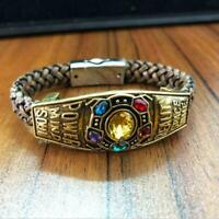 Thanos Infinity Stones Leather Cord Bracelet Cosplay Wrist Strap Hand Bangle