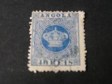 ANGOLA,, SCOTT # 5, 40r.VALUE BLUE 1877 PORTUGESE CROWN ISSUE USED