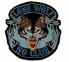 Lone Wolf, No Club - 27.5cm x 25.5cm - Embroidered Motorcycle/Biker Patch