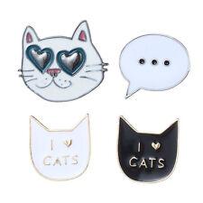 4pcs Lovely Cute Cat Creative Collar Pins Badge Corsage Cartoon Brooch Jewelery