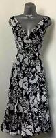 Debenhams SZ12 Black/Grey  Frill Skirt Tie Back Dress *EXCELLENT CONDITION*