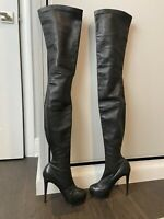 Christian Louboutin Black 130mm leather over the knee boots size 37. Hidden Plat