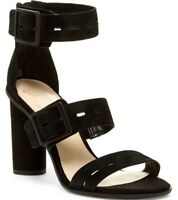 NIB Fergie Fame Buckled Leather Open Toe Strappy Shoe Sandal Heels Black Size 8