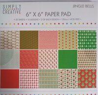 Simply Creative 6x6 Paper Pad  Jingle Bells Card Making Scrapbooking Planner Art