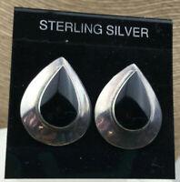 Vintage Sterling Earrings Silver 925 Black Onyx tear Drop Top Post Pierced